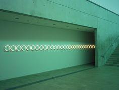 Dan FlavinUntitled (In Memory of Barbara Schiller)(1973)fluorescent light tubes, coloured gels, transformers  via:delicatematter