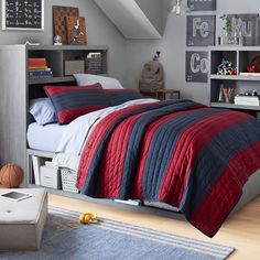 Guide To Discount Bedroom Furniture. Bedroom furnishings encompasses providing products such as chest of drawers, daybeds, fashion jewelry chests, headboards, highboys and night stands. Teen Boy Bedding, Discount Bedroom Furniture, Diy Home, Home Decor, Striped Quilt, Boys Bedroom Decor, Bedroom Ideas, Pottery Barn Teen, Bed Sheets