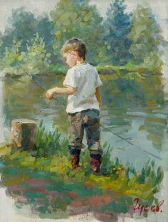 """Young Fisherman"" by Vladimir Gusev (1957) - ""Looking at the quiet flowing stream rather than at the intrusive cellphone screen"