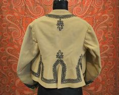 60s ivory wool felt zuoave jacket with soutache trim - back