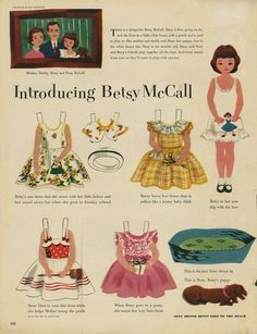Introducing Betsy McCall 1951* For lots of free paper dolls International Paper Doll Society #ArielleGabriel #ArtrA thanks to Pinterest paper doll collectors for sharing *