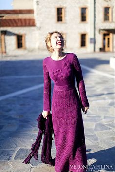 Hand knitted winter lace maxi dress made from soft yarn ( merino, silk, cashmere). Its warm and cosy. Embellished with embroidered Folk Fashion, Knit Fashion, Knit Skirt, Knit Dress, Crochet Woman, Lace Maxi, Lace Knitting, Knitting Designs, Crochet Clothes