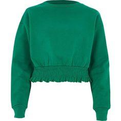 River Island Green shirred hem cropped sweatshirt (415 SEK) ❤ liked on Polyvore featuring tops, hoodies, sweatshirts, sweaters, green, hoodies / sweatshirts, women, green hoodies, hoodie sweatshirts and crewneck sweatshirt