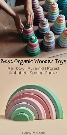 Best Rainbow Organic Wooden Baby Toys by HappyTreeStore. Montessori Rainbow | Pyramid | Forest | Alphabet | Sorting Games. Waldorf and Educational wooden toys is the best gift for toddlers. Our toys are made of environmentally eco-friendly materials for kids of any age #babyroom #education