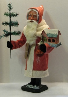 German Style Santa Candy Container with Putz House GOOSE Feather Tree OOAK | eBay