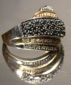 White Gold Black Alaskan & Clear Diamonds Ring 10 K Size 6 Rose Gold – diamond rings vintage Rose Gold Diamond Ring, Vintage Diamond Rings, Vintage Rings, Rose Gold Highlights, Modern Jewelry, Ring Designs, White Gold, Black White