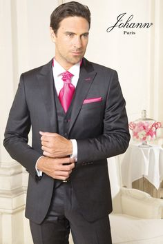 johann ceremonie costumes costume 3 pices gris anthracite et strawberry - Costume Homme 3 Pieces Mariage
