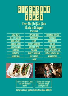 """""""Street Feast on Thames is happening. Bbq Spit, Prosecco Bar, Street Food Market, Battersea Power Station, Bob S, Great Night, London Travel, Oysters, Barbecue"""