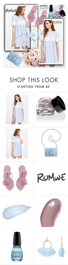 """""""Floral Lace Applique Frill Sleeve Striped Babydoll Dress"""" by pavicmartina ❤ liked on Polyvore featuring Bobbi Brown Cosmetics, Anne Klein, Sophia Webster, Chantecaille and Taolei"""
