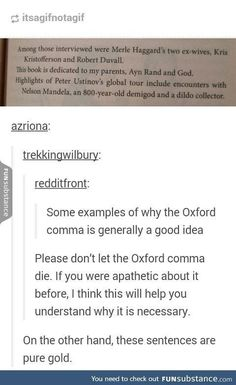 The Oxford Comma |  Reasons why we need it (but these sentences are hilarious!)