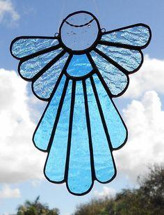 Stained Glass Angel Suncatcher, Blue #402