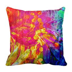 BE BOLD Rainbow Floral Swirls Abstract Painting Decorative Throw Pillow, Fine Art Flowers Swirls Polka Dots Ombre Home Decor, Whimsical Colorful Cushion, Rainbow Pretty Stylish Modern