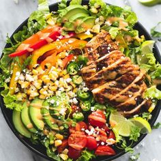 The secret to this salad is using the spices for both the chicken AND the creamy chipotle dressing!