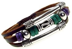 Swirl Bead Leather Zen Bracelet, Adjustable, Gift Box