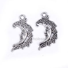 10Pcs Antique Silver Tibetan Silver Moon Face Charm Pendant for Jewelry Making #Unbranded