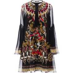 Roberto Cavalli     Silk Printed Mini Dress ($2,160) ❤ liked on Polyvore featuring dresses, vestidos, black, silk dress, short boho dress, loose fit dress, bohemian dresses and loose mini dress