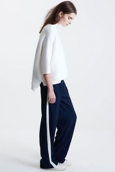 On The Road... Why you need a pair of wide leg trousers #stripe #minimal #modern #contemporary #theroaddaily #style #stayahead #white #navy #stansmiths