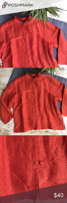 """Eileen Fisher Linen Blouse Eileen Fisher button down top with mandarin collar • russet orange • 22"""" bust measured flat • 25"""" length from shoulder to bottom • cotton/Linen blend • lovely Top! Eileen Fisher Tops"""