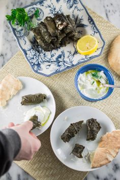 Easy recipe for Meat & Rice Stuffed Grape Leaves, a Mediterranean classic. Lebanese Recipes, Greek Recipes, Grape Leaves Recipe, Stuffed Grape Leaves, Greek Dishes, Easy Meals, Appetizers, Rice, Favorite Recipes