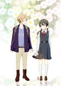 Tamako Market / Tamako Love Story   Kyoto Animation / Kitashirakawa Tamako and Ooji Mochizou / 「もちたま」/「マチ」のイラスト [pixiv]