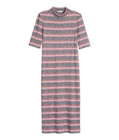 Striped, knee-length dress in ribbed jersey with a turtleneck and short sleeves. | H&M Pastels