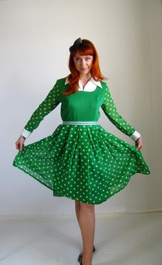 1960s Dress Bright Green Mod Mad Men Office Spring by gogovintage, $70.00