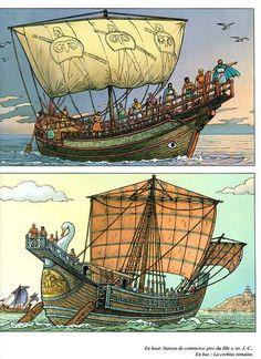 Greek Ship 3rd century BC; Roman Cargo Ship (below)
