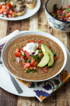 Mexican Pinto Bean Soup Recipe - Tastes like 7-layer dip, without the guilt!