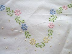 Vintage White Bed Sheet French Knots by LinenWallflowers on Etsy