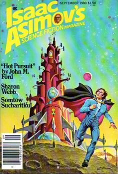ALEX SCHOMBURG - art for Hot Pursuit by John M. Ford - Sept 1980 Isaac Asimov's Science Fiction Magazine
