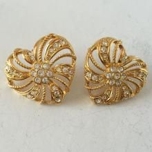Gold plated heart shape push backs and posts earrings with rhinestones