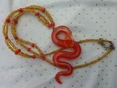 Red Necklace, Snake Necklace, Hand Beaded Red & Gold Murano Lampwork Glass Snake Necklace, Gold Necklace, Snake Jewelry by RivieBoutique on Etsy