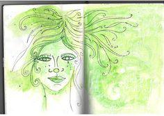 Girl in Green  http://openwaydesigns.com/2012/11/19/art-journal-every-day-watercolour-girls/
