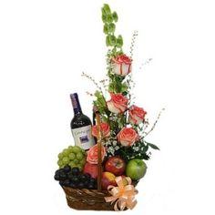 Cesta Frutal con flores y Vino