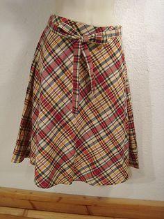 Womens Tommy Hilfiger Gold Red Blue Plaid Cotton Belt Skirt India A Line 2P | eBay
