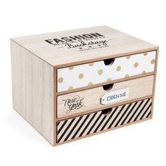 Boîte 3 tiroirs en bois H 17 cm ... Painted Wooden Boxes, Wood Boxes, Stationary Box, Decoupage Vintage, Desk Organization, Home Decor Furniture, Diy Projects To Try, Wood Design, Home Decor Accessories