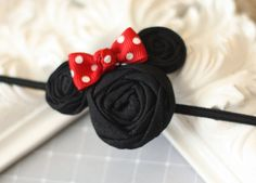 Small Minnie Mouse Inspired Rosette Headband so buying this for our trip : )