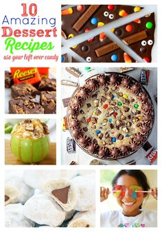 Recipes using leftover Halloween candy. If you are looking for dessert recipes you are not going to be disappointed. Best Dessert Recipes, Candy Recipes, Fun Desserts, Delicious Desserts, Sweets Recipes, Cookie Recipes, Holiday Treats, Holiday Recipes, Halloween Candy