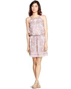 White House | Black Market Sleeveless Paisley Blouson Short Dress #whbm