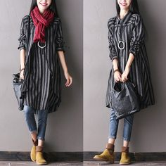 Women autumn long sleeve cotton irregular shirt dress
