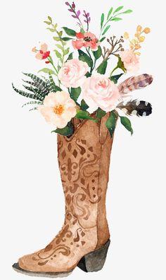 Watercolor flowers Sen Department of retro boots Bouquet PNG Image Cowboy Boots Drawing, Cowboy Boot Tattoo, Cowboy Art, Art Globe, Watercolor Flowers, Watercolor Paintings, Watercolor Drawing, Art Boots, Bull Skulls