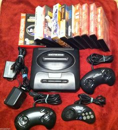 Bundled Lot Sega Genesis Console Power Cords Controllers 10 Games Excellent