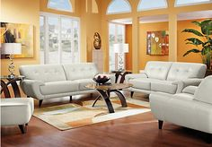 picture of Cindy Crawford Home Midtown East Smoke Leather 5 Pc Living Room  from Leather Living Rooms Furniture