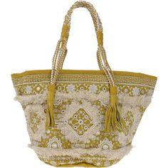 Antik Batik Handbag ($145) ❤ liked on Polyvore featuring bags, handbags, yellow, brown purse, yellow hand bags, brown handbags, zipper purse and shopper handbags