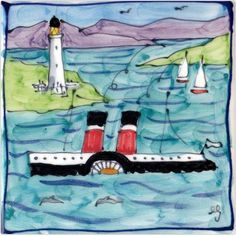 A delightful hand painted ceramic tile featuring the PS Waverley taking one of its many trips in Scotland passing the lighthouse on the shore that guided its path. www.scottishcreations.com