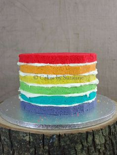 Colorful layer cake at a My Little Pony Rainbow Dash birthday party! See more party ideas at CatchMyParty.com!
