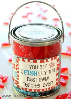 Doing this for Diego's swim teachers. Such a cute idea.