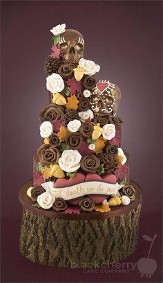 Autumn themed Chocolate Wedding Cake Death by Chocolate in Autumn Skull Wedding Cakes, Wedding Shower Cakes, Death By Chocolate, Chocolate Art, Chocolate Cakes, Just Cakes, Cakes And More, Amazing Wedding Cakes, Amazing Cakes