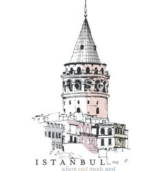 Galata tower drawing vector 1279640 - by HypnoCreative on VectorStock® - Hand City Illustration, Urban Sketchers, Painting Lessons, Drawing Techniques, Tag Art, Drawing People, Islamic Art, Travel Posters, Tour