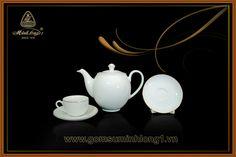 Bộ Trà Cao cấp - Gốm Sứ Minh Long 1: Bộ trà 0.8L Came Chỉ Vàng 01803801403
